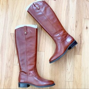 INC Fawne Cognac Leather Riding Boots Round Toe 7